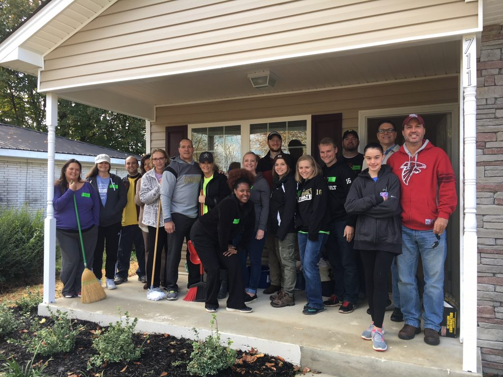 Acopia employees working with Habitat for Humanity.
